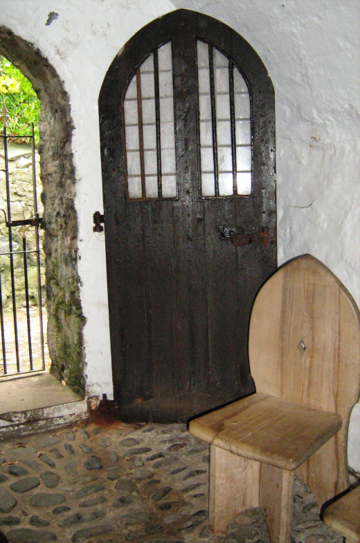 The inside of the chapel of St Trillo in Rhos on Sea