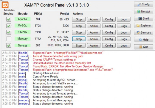 A snapshot of the XAMPP control console. XAMPP include support for Apache, Tomcat, Mercury, FileZilla, and MySQL. PHP, PHPMyAdmin and Perl are also included.