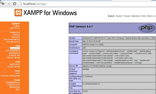 This is a shnapshot of some of the information provided by phpinfo() which is part of the XAMPP package.