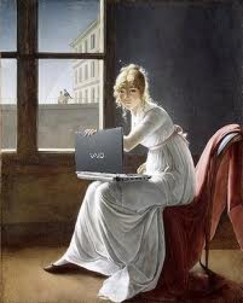 She is writing