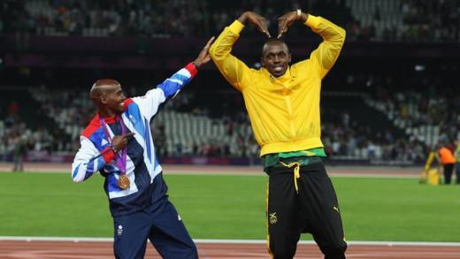 10,000 metres Olympic champion Mo Farah and Olympian Usain Bolt