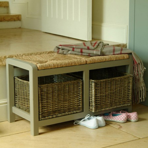 Small Wicker Storage Seat