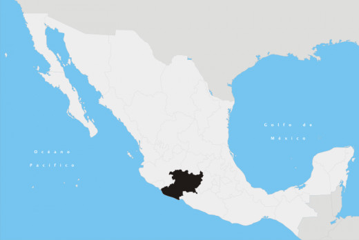 Map showing the state of Michoacan in Mexico.