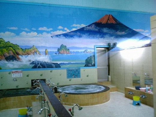 Japanese bathhouses with the seperate taps to scrub and rinse before bathing