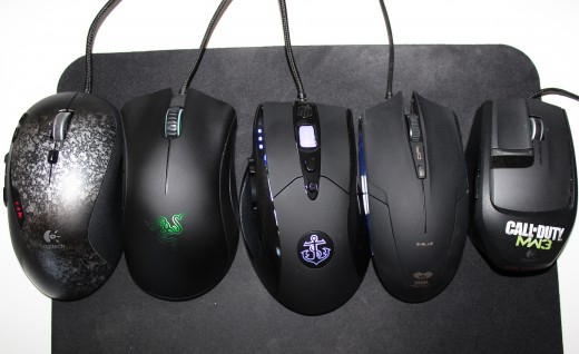 Here's a look at a few of my favorite gaming mice in the budget category. From Left to Right the Logitech G500, Razer DeathAdder, Anker High Precision, E-Blue Cobra, and Logitech G9X.