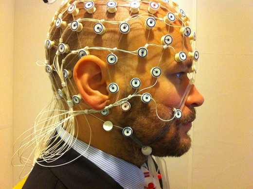 Subject ready for EEG recording at the phonetics lab, Stockholm University photo by Petter Kallioinen