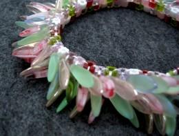Pink and green garden dagger fringed beaded bracelet.