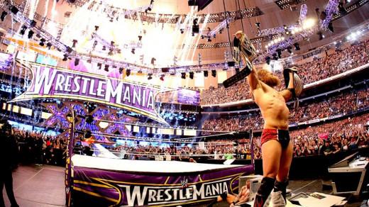 Daniel Bryan Celebrating after winning the WWE World Title at Wrestlemania 40