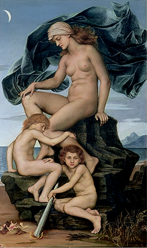 Nyx with twins Hypnos and Thanatos