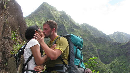 Stopping for a Kiss on the Kalalau Trail