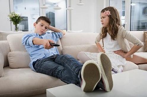 Selfish sibling hogging the remote