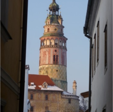Cesky Krumlov's Castle Tower follows you everywhere