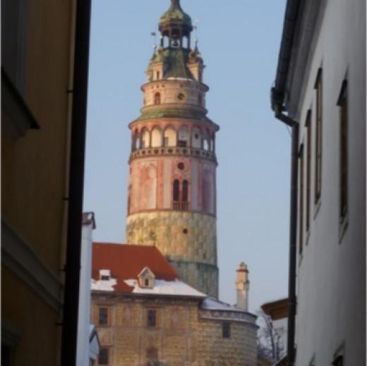Cesky Krumlov's Castle Tower follows you everywhere