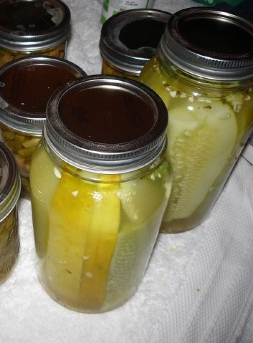 Pickles made from cucumbers in last year's garden.