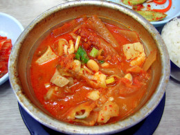 Kimchi, a fermented vegetable Korean dish.