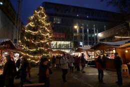 Christmas fair on Vorosmarty Square (Vöröstmarty tér)  in December
