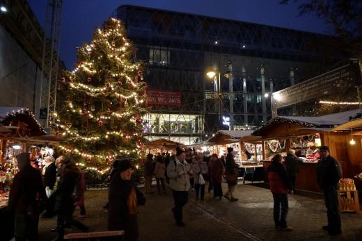 Christmas fair on Vorosmarty Square (Vöröstmarty tér)  in December