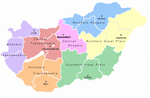 The 7 statistical regions of the country