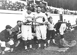 Babe Ruth and Lou Gehrig pay a trip to West Point during their historic 1927 season.