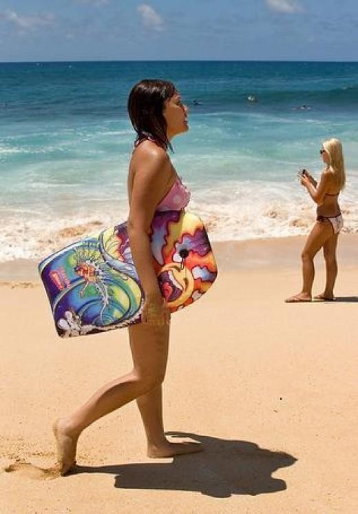 Boogie Boarding on Poipu Beach