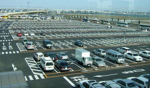 An airport parking lot