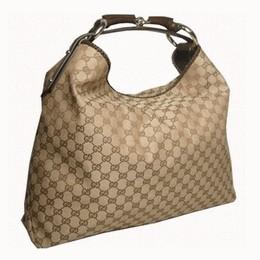 Gucci 114900 Beige/Brown Large Horsebit Monogram Hobo Bag