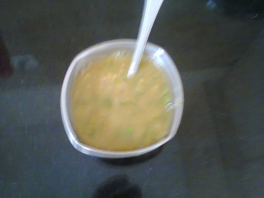 Sambar served in a bowl as soup
