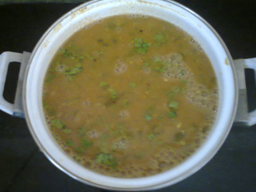 sambar ready after topping with fried mustard/cumin seeds and coriander leaves