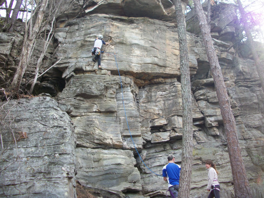 Rock Climbers along the Ledge Springs Trail, heading towards the Big Pinnacle. Pilot Mountain State Park - Pinnacle, NC