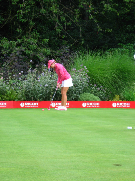 Paula Creamer dialing it in on a green in the UK