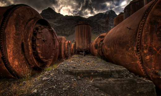 Old rusted tanks containing whale oil at the old whaling village of Grytviken in South Georgia.