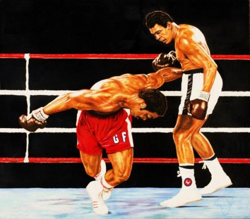 The Champ delivers the crushing blows to the undefeated and seemingly invincible giant.
