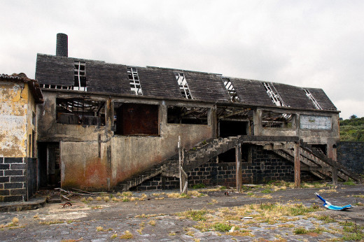 Front yard of an abandoned whale factory in Capelas, Azores (an autonomous region of Portugal).