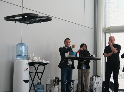 A quadrotor drone being controlled with hand gesture technology.