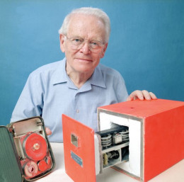 The inventor, Dr. Dave Warren with the prototype of the Black box