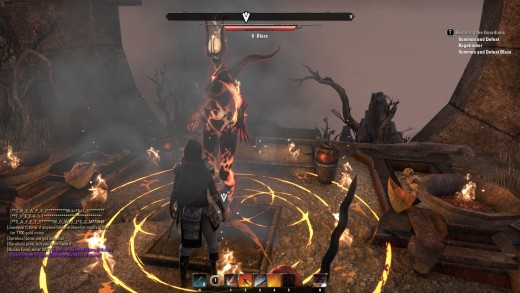 A fiery guardian during the To Ash Mountain quest of The Elder Scrolls Online.