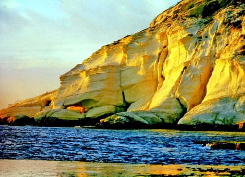 Brlmestone (phosphorous rich lime stone) cliffs at the bank of river Jordan. On our way back to Jerusalem from Jericho