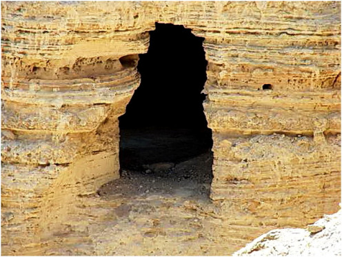 Close up view of a cave no. 4 from where the dead sea scrolls were found by a Bedouin shepherd during 1947
