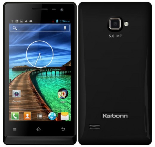 Front and rear of the Karbonn A12+
