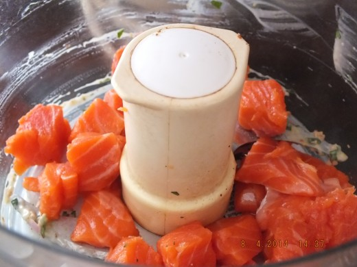 I like to slightly freeze my fresh fish for two reasons before I start the recipe. The first reason is it makes it super fast and easy to cut and the second it keeps you from overprocessing it in the food processor.