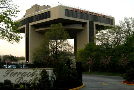 "The ""T"" shaped building stood for ""Transportation"" during the World's Fair. Today it stands for ""Terrace"" on the Park."