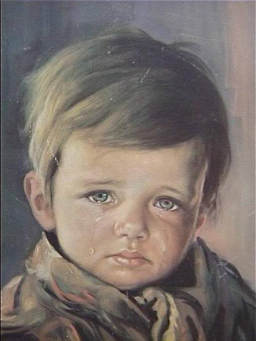 Boy shedding tears