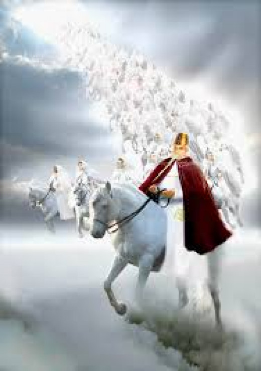 Christ and his army coming back on white horses