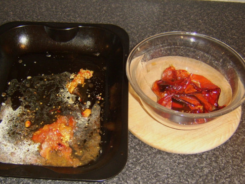 Roasted and Seeded Peppers and Tomatoes