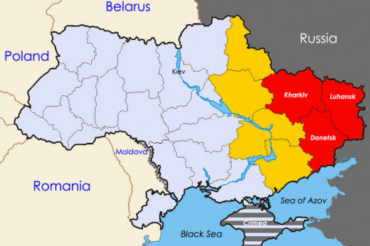 The red zones are eastern Ukraine where most of the pro-Russian Ukrainians are.