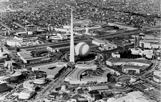 The Trylon and Perisphere dominate the 1939-40 New York World's Fair landscape.