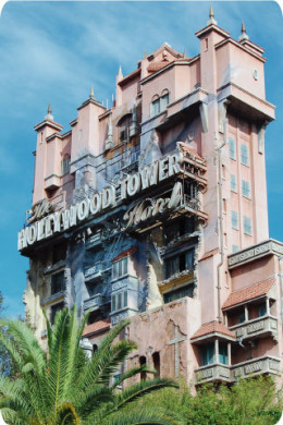 The Twilight Zone Hollywood Tower of Terror looms over Disney's Hollywood Studios.