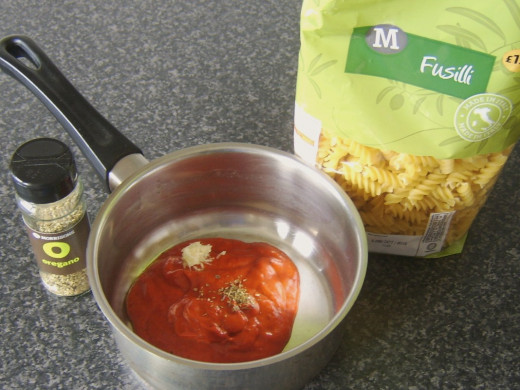 Fusilli pasta with sweet pepper and tomato sauce ingredients