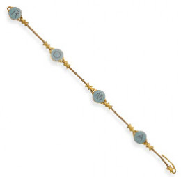 micromosiac bracelet by Castellani Designed as four circular blue micromosaic panels reading 'ROMA' ('AMOR' in reverse), to the gold spacers and plaited chain, circa 1860, 18.6 cm.  Cs maker's mark for Castellani