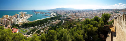 Panoramic view of Malaga, Spain.